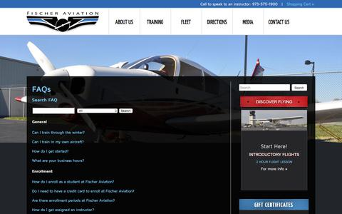 Screenshot of FAQ Page fischeraviation.com - Frequently Asked Questions about Flight Training | NY / NJ Flight School - captured Aug. 14, 2018