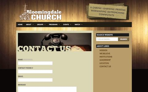 Screenshot of Contact Page bloomingdalechurch.org - Contact Us | Bloomingdale Church - captured Sept. 30, 2014