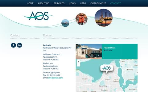 Screenshot of Contact Page aosau.com - Contact - Australian Offshore Solutions - captured Nov. 21, 2016