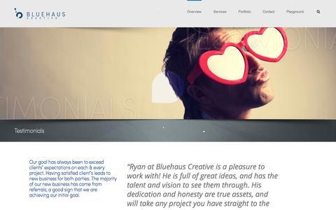 Screenshot of Testimonials Page bluehaus.com - Testimonials  | Bluehaus Creative - captured Nov. 3, 2014