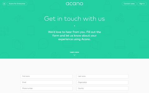 Screenshot of Contact Page acano.com - Questions, comments or suggestions? Get in touch with us. - captured Dec. 23, 2015