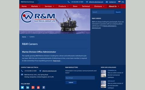 Screenshot of Jobs Page rm-electrical.com - Careers - R&M Electrical Group - captured Feb. 4, 2016