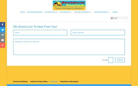 Screenshot of Contact Page benidormtourism.uk - Contact Us   Benidorm Tourism - captured Nov. 7, 2016