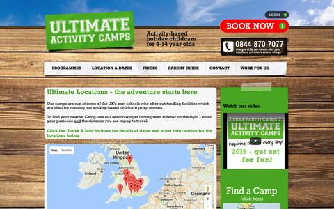 Screenshot of Locations Page ultimateactivity.co.uk - Holiday activity day camps | outstanding school locations » Ultimate Activity Camps - captured Sept. 28, 2016