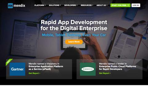 Screenshot of Home Page mendix.com - Rapid Application Development for The Enterprise | Mendix - captured June 16, 2015