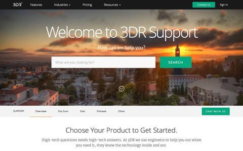 Screenshot of Support Page 3drobotics.com - Support  | 3DR Site Scan - Commercial Drone Platform - captured March 13, 2017