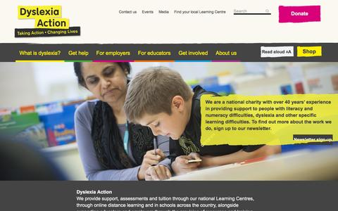 Screenshot of Home Page dyslexiaaction.org.uk - Home | Dyslexia Action - captured Jan. 8, 2016