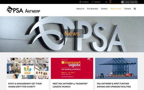 Screenshot of Press Page psa-antwerp.be - News | PSA Antwerp - captured May 13, 2017