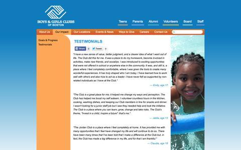 Screenshot of Testimonials Page bgcb.org - Testimonials | Boys and Girls Club of Boston - captured Oct. 5, 2014
