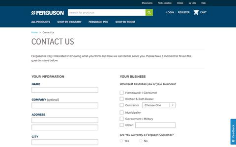 Screenshot of Contact Page ferguson.com - Contact Ferguson Enterprises - captured July 21, 2019