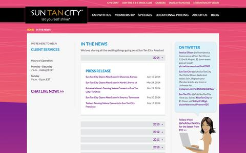Screenshot of Press Page suntancity.com - Sun Tan City in News Articles and Press Releases - captured Feb. 23, 2016