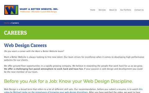 Screenshot of Jobs Page wantabetterwebsite.com - Careers - Want a Better Website, Inc. - captured March 3, 2016