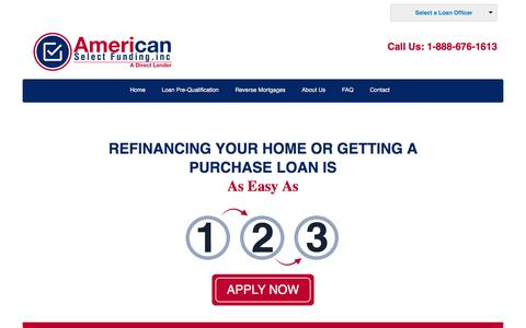 Screenshot of Home Page americanselectfunding.com - Best Mortgage Lenders California | Best Refinance Rates in California - captured Feb. 6, 2016