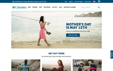 Screenshot of Home Page columbia.com - Outdoor Clothing, Outerwear & Accessories | Columbia Sportswear - captured May 10, 2019