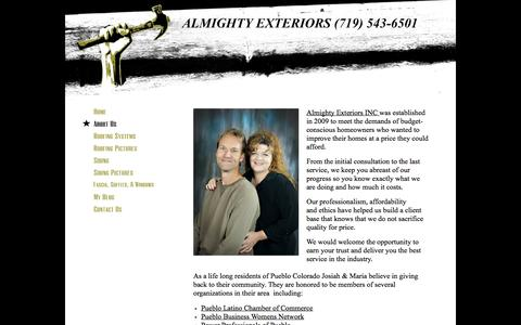 Screenshot of About Page almightyexteriors.com - Almighty Exteriors Pueblo Colorados #1 Roofing & Siding Company  - About Us - Pueblo, CO - captured Oct. 4, 2014