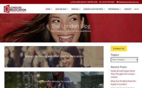 Screenshot of Blog londonrelocationservices.com - London Relocation Blog - captured Sept. 30, 2018