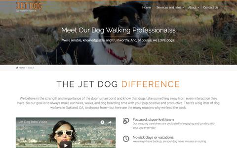 Screenshot of About Page jetdoglove.com - Reliable, knowledgable and trustworthy dog walking professionals - Jet Dog - captured Oct. 13, 2018