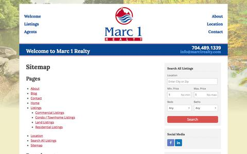Screenshot of Site Map Page marc1realty.com - Sitemap - Marc 1 Realty - captured June 9, 2017