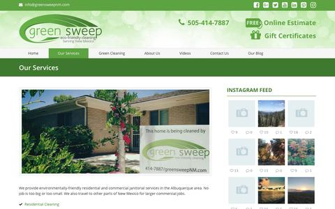 Screenshot of Services Page greensweepnm.com - Residential and Commercial Cleaning in Albuquerque - Green Sweep NM Albuquerque NM - Green Sweep New Mexico 505-414-7887 - captured Oct. 1, 2018
