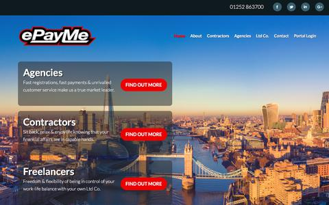 Screenshot of Home Page epayme.co.uk - Welcome to ePayMe - the leading provider of compliant outsourced payroll solutions - captured July 24, 2018