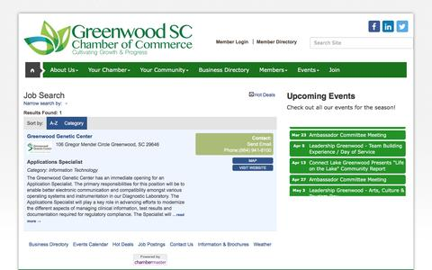 Screenshot of Jobs Page greenwoodscchamber.org - Job Search - Greenwood Area Chamber of Commerce, SC - captured Nov. 16, 2016