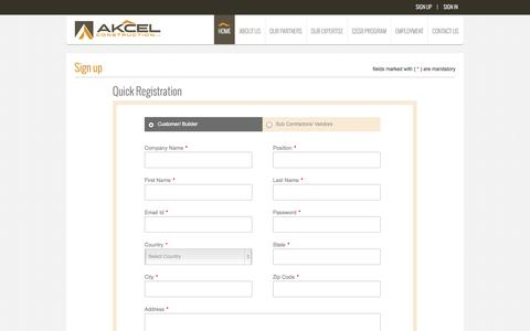 Screenshot of Signup Page akcelconstruction.com - Shell, Slab, Framing and Block Contractor in Orlando, Central Florida - captured Oct. 29, 2014