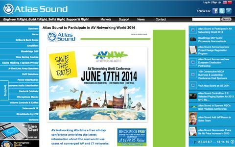 Screenshot of Press Page atlassound.com - AtlasSound.com - captured Sept. 19, 2014