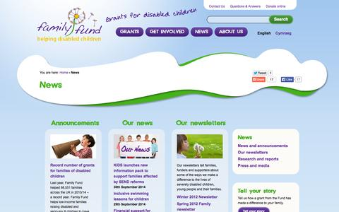 Screenshot of Press Page familyfund.org.uk - News | Family Fund - captured Oct. 7, 2014