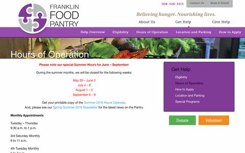 Screenshot of Hours Page franklinfoodpantry.org - Hours of Operation - Franklin Food Pantry - captured Aug. 4, 2016
