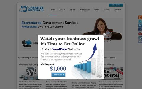 Screenshot of Home Page creativewebdesign123.com - Creative Web Design 123 | WordPress Web Design | Toronto - captured Sept. 18, 2015