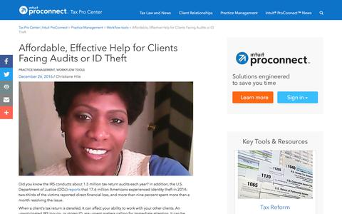 Screenshot of Pricing Page intuit.com - Affordable, Effective Help for Clients Facing Audits or ID Theft | Tax Pro Center | Intuit ProConnect - captured Nov. 21, 2019