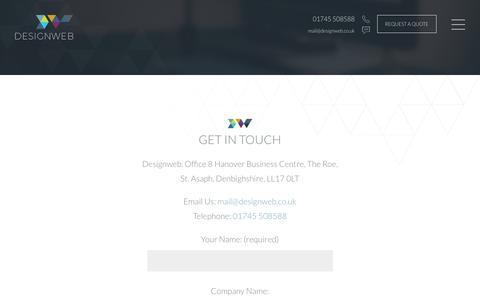 Screenshot of Contact Page designweb.co.uk - Contact Us   DesignWeb - captured Feb. 14, 2018