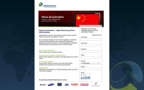 Screenshot of Landing Page cdnetworks.com - China Acceleration – High Performing China CDN | CDNetworks - captured Oct. 27, 2014