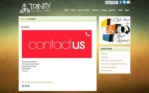 Screenshot of Contact Page trinityworship.net - Contact – Trinity Worship Center - captured Oct. 8, 2014