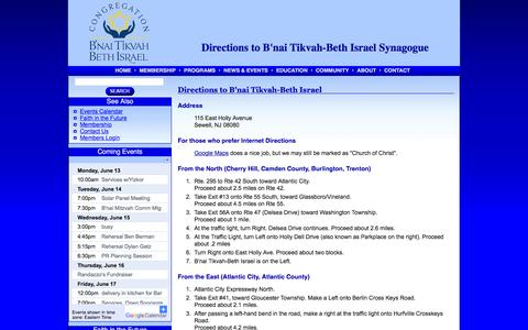Screenshot of Maps & Directions Page cbtbi.org - Directions to B'nai Tikvah-Neth Israel - captured June 13, 2016