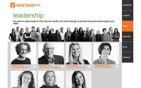 Screenshot of Team Page vantagepr.com - Vantage PR Leadership Team - Management & Executives | Vantage PR - captured Oct. 26, 2014