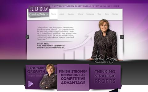 Screenshot of Home Page fulcrumcwi.com - Fulcrum ConsultingWorks Inc. | Grow Profitability by Leveraging Operational Excellence - captured Oct. 11, 2018