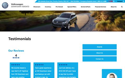 Screenshot of Testimonials Page volkswagendowntowntoronto.ca - Customer Testimonials - Volkswagen Downtown Toronto - captured Oct. 18, 2018