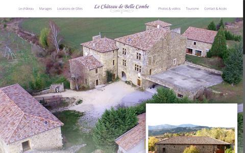 Screenshot of Home Page chateau-bellecombe.com - Château de Belle Combe (07) - Location pour mariage & Location de Gîtes - captured Oct. 28, 2018