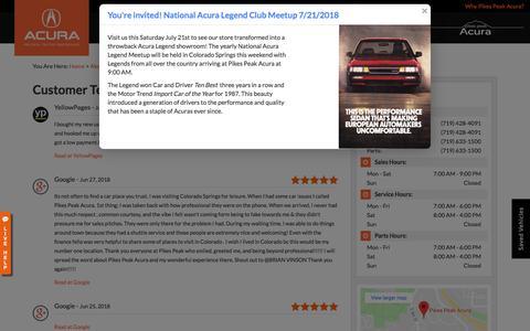 Screenshot of Testimonials Page pikespeakacura.com - Customer Testimonials | Pikes Peak Acura near Pueblo - captured July 18, 2018