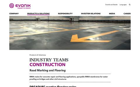 Road Marking and Flooring - Construction Industry - Evonik Industries AG