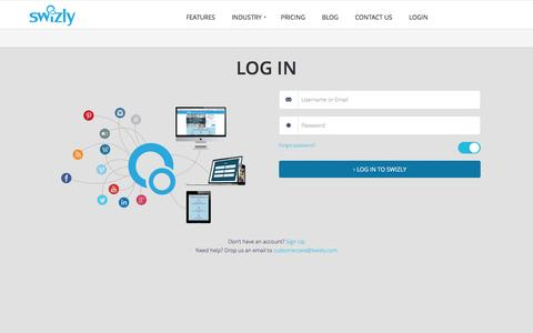 Screenshot of Login Page swizly.com - Login | SWIZLY 3.0 - captured May 26, 2017