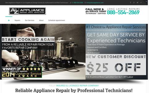 Screenshot of Home Page atozappliance.com - A to Z Appliance Repair | Los Angeles Refrigerator, Stove, Washer Repair - captured Oct. 3, 2014