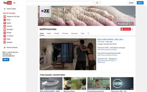 Screenshot of YouTube Page youtube.com - zoefilmseurope  - YouTube - captured Oct. 29, 2014