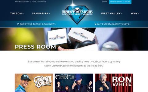 Screenshot of Press Page ddcaz.com - Casino Events and Desert Diamond Casino Press Room - captured Oct. 8, 2018
