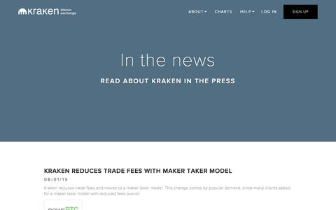 Screenshot of Press Page kraken.com - Kraken | Buy, Sell, and Trade Bitcoins - Press - captured Oct. 1, 2015