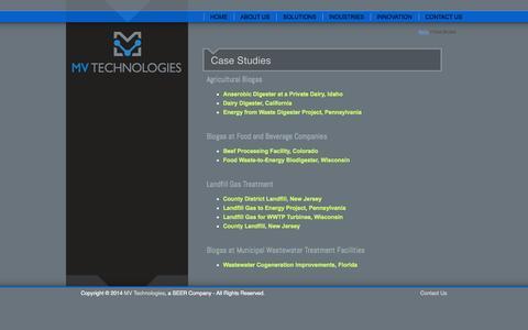 Screenshot of Case Studies Page mvseer.com - MV Technologies :: Case Studies - captured Oct. 4, 2014