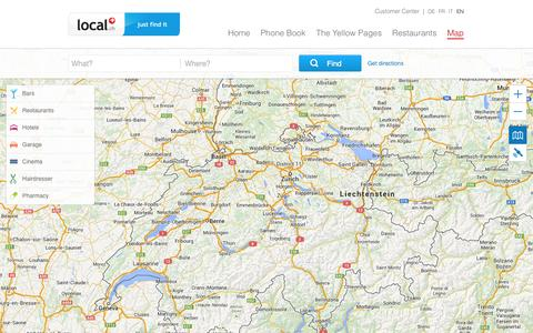 Screenshot of Maps & Directions Page local.ch - Map of Switzerland for address searches and route planning - now on local.ch - captured Sept. 18, 2014