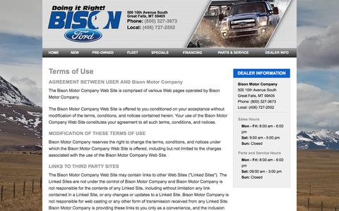 Screenshot of Terms Page bisonford.com - Bison Motor Company - Great Falls, MT Terms of Use - captured Jan. 4, 2016
