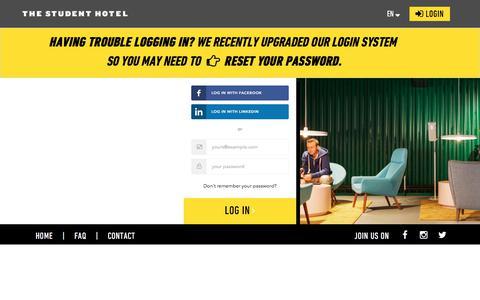 Screenshot of Login Page thestudenthotel.com - TSH Portal - captured Aug. 6, 2017